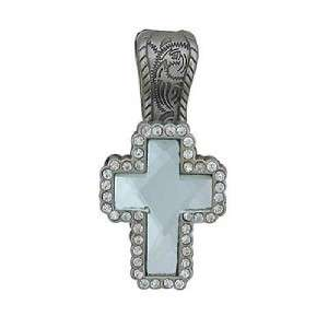 Vintage Clear Rhinestone Cross Concho Magnetic Bail Cowgirl Pendant