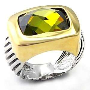 Size 8 Olivine Color Cubic Zirconia Brass Reverse Two Tone
