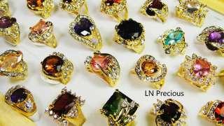 jewelry lots 10pcs Rhinestone Cubic Zirconia Gold rings