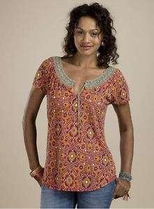NWT Lucky Brand Jeans Mosaic Crochet Top Shirt 7W60814