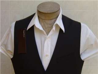 Mens Dress Vest L Solid Black Suit Coat Tuxedo Button Down Pocket NWT