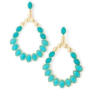 Dangle Turquoise and Gold Earrings   Lead and Nickel Free Jewelry