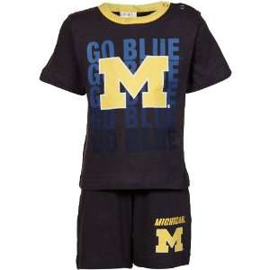 Michigan Wolverines Infant Navy Blue End Zone T shirt & Shorts Set (6