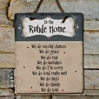 In Our Home Family Name Personalized Slate Plaque