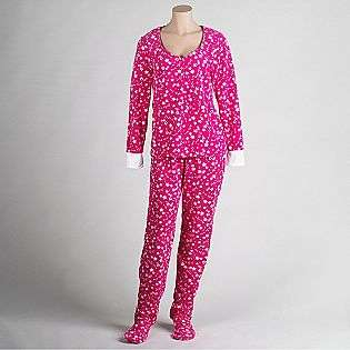 Womens Two Piece Fleece Footie Pajamas  Joe Boxer Clothing Intimates