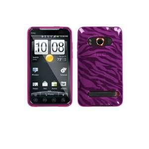 HTC Evo 4G Flexible TPU Skin Case   Hot Pink Zebra Cell