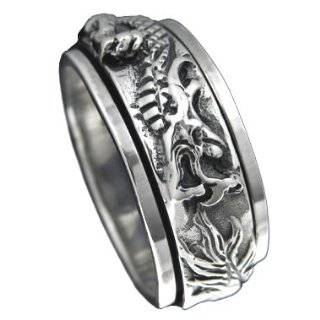 Sterling Silver 5/16 (8 mm) Multiple Good Luck Designs Spinner Ring