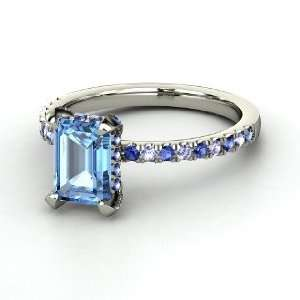 Reese Ring, Emerald Cut Blue Topaz 14K White Gold Ring with Sapphire