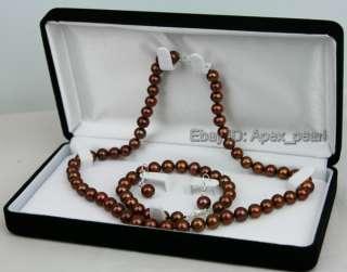 AAA 8 9MM FW Chocolate Pearl Necklace Bracelet Earrings