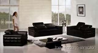 Euro modern leather sofa loveseat chair adjustable headrest set home