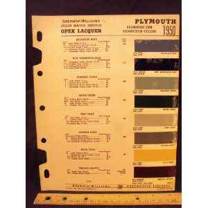 1950 PLYMOUTH Paint Colors Chip Page Chrysler Cororation