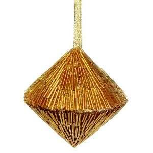4.5 Long Bugle Bead Diamond Shape Ornament Gold (Pack of