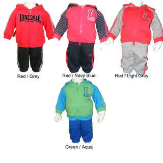 Lonsdale baby boys tracksuit outfit pants jacket set clothes sizes 000