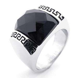 Mens Black Crystal Silver Stainless Steel Ring Size 9