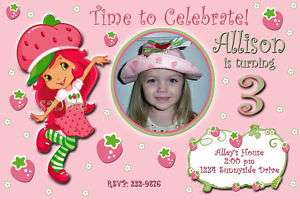 Strawberry Shortcake Custom Birthday Invitation