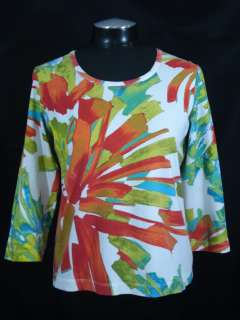 Chicos 1 M Orange Red Green Stretch Cotton Shirt Top Bold Floral Print