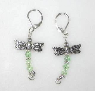 Green Swarovski Crystal Dragonfly Leverback Earrings