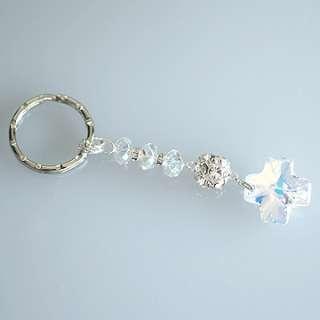Swarovski Crystal Cross Luxury Keychain (Gold/Clear)