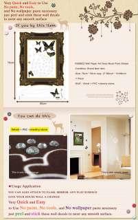 VS602 FRAME & BUTTERFLY VELVET Wall Deco Mural Sticker