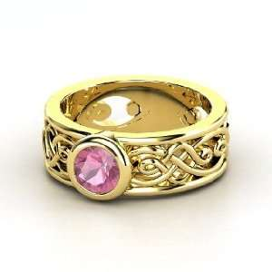 Alhambra Ring, Round Pink Tourmaline 14K Yellow Gold Ring Jewelry