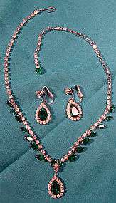 Vintage GREEN & WHITE RHINESTONE NECKLACE & EARRINGS