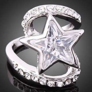 ARINNA Clear Swarovski Crystal Star White Gold GP Ring