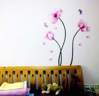 Peach Flower 2 Butterfly Art Mural Vinyl Wall Sticker Decal Home Decor