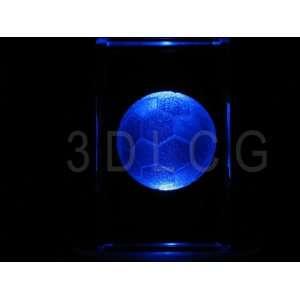 Soccer Ball 3D Laser Etched Crystal