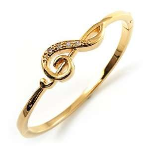 Gold Tone Crystal Treble Clef Bangle Bracelet Jewelry