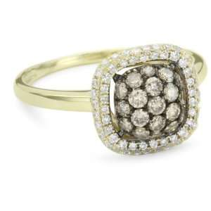 KC Designs Tres Chic Champagne and White Diamond 14k Yellow Gold