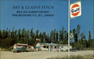 PINK MOUNTAIN BC Art & Gladys Fitch GULF GAS PUMPS STATION Old PC