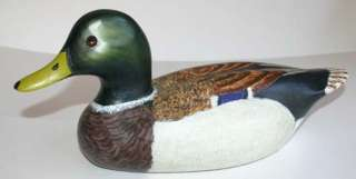 Hand Carved Wood Decor Decoy Mallard Duck hand painted 1985