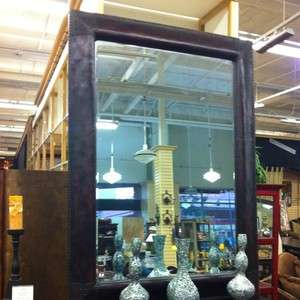 Eclectic Old World Leather Framed Wall Mirror 63x87