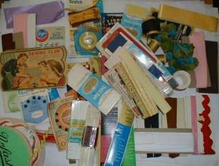 of Vintage Sewing Notions   ribbon, zippers, rick rack, snaps, thread