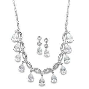 Mariell ~ Cubic Zirconia Multi pear shaped Drop Necklace and Earrings