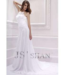 Jsshan Embroidery Lace Empire Beading Beach Bridal Gown Wedding Dress