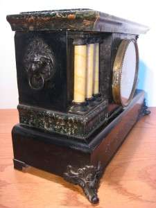 MANTEL CLOCK 2 BELL BIM BAM STRIKE, WOOD/FAKE MARBLE CASE RUNS