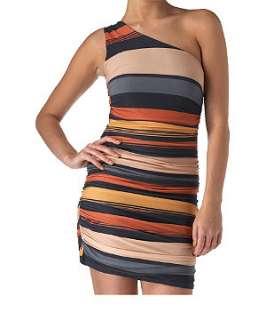 Orange/Yellow Pattern (Orange) Sisters Point One Shoulder Stripe Dress
