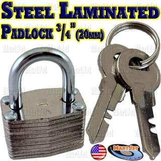 Steel Laminated Key Padlock Travel Lock Luggage Suitcase Bag