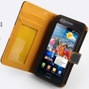 Samsung Galaxy S2 i9100 Black Leather Diary Case Cover