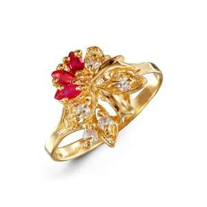 Ruby Red Marquise White CZ Flower 14k Yellow Gold Ring