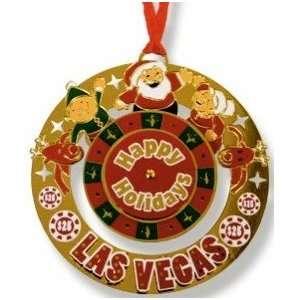 Las Vegas Metal Christmas Ornament Santa Roulette Die Cut