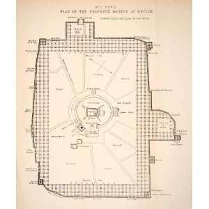 1879 Print Map Prophet Muhammad Islam Muslim Mosque Almasjid Annabawi