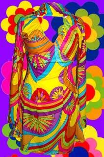 Trompetenärmel AbbA Retro Kleid Revival 70er Jahre