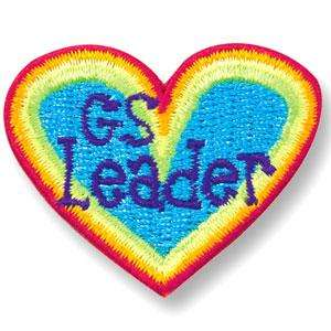 Girl GUIDE/SCOUT Red Heart GS LEADER Patch Pin Crest