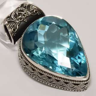 FACETED SWISS BLUE TOPAZ VINTAGE STYLE .925 SILVER PENDANT 1.65