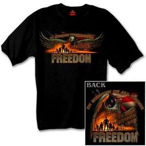 Defending Freedom black t shirt New Veteran Pow/Mia memorial vet biker