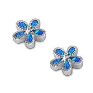 Sterling Silver Blue Opal Fancy Star Flower Earrings Jewelry