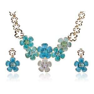 Gold Tone Enamel Clover Flower Swarovski Crystal Rhinestone Earring