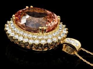 22500 CERTIFIED 14K YELLOW GOLD 27CT MORGANITE 3CT DIAMOND PENDANT